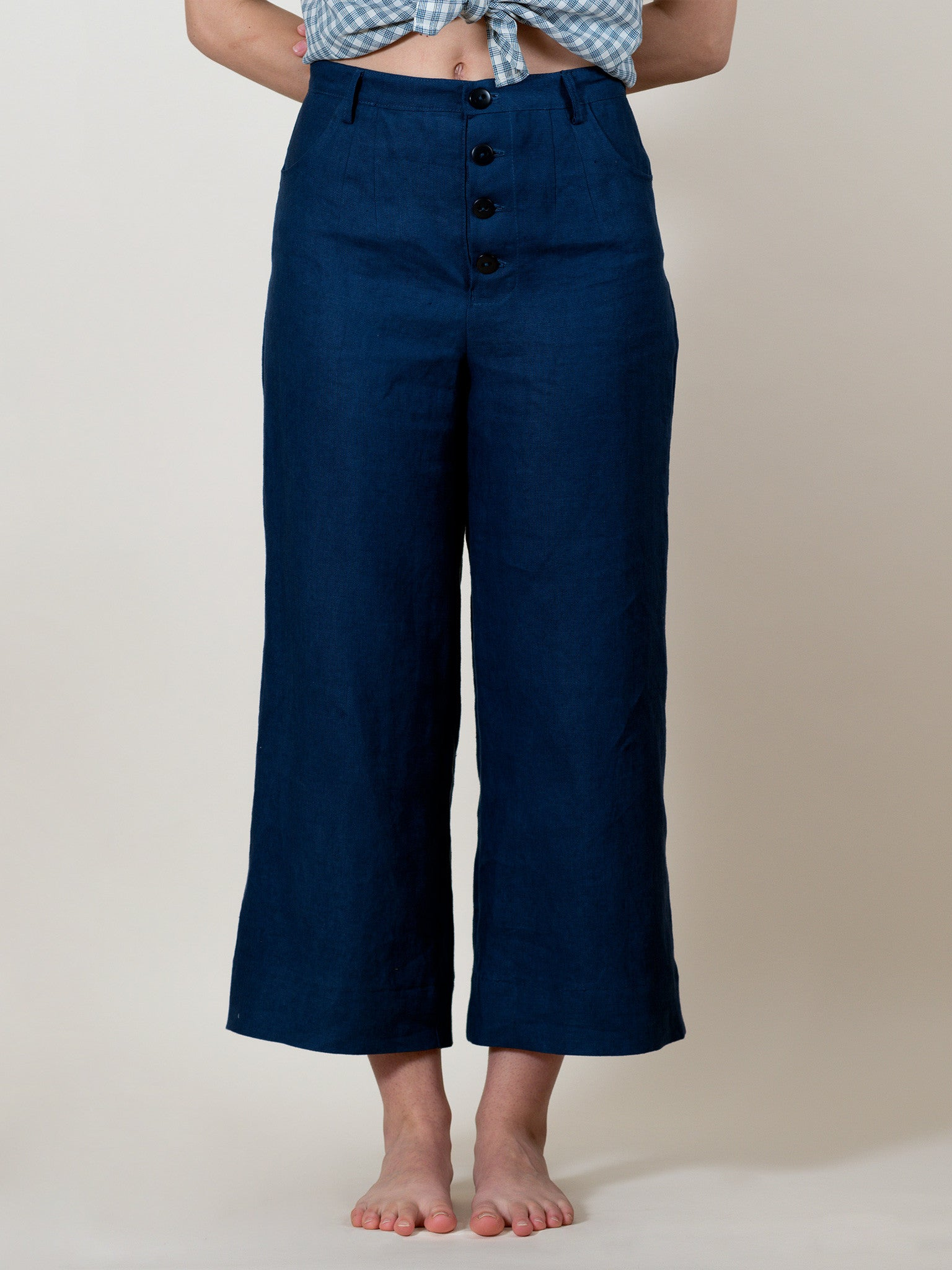 Sawyer Pants in Blueberry Linen