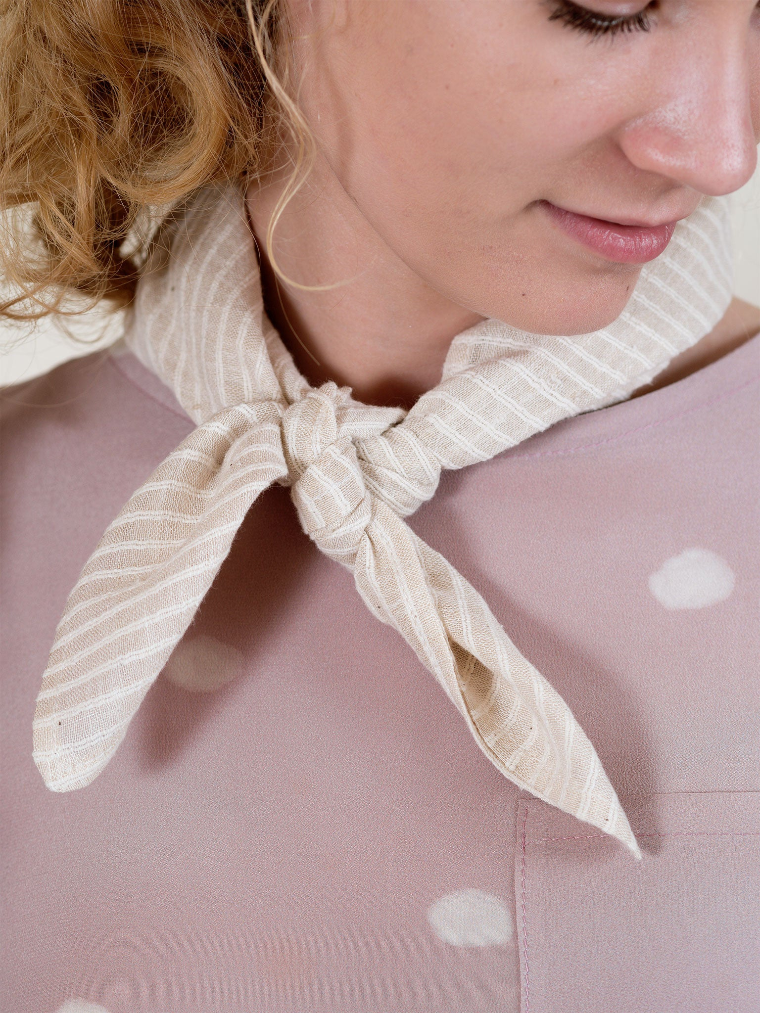 Square Scarf in Cream Stripe
