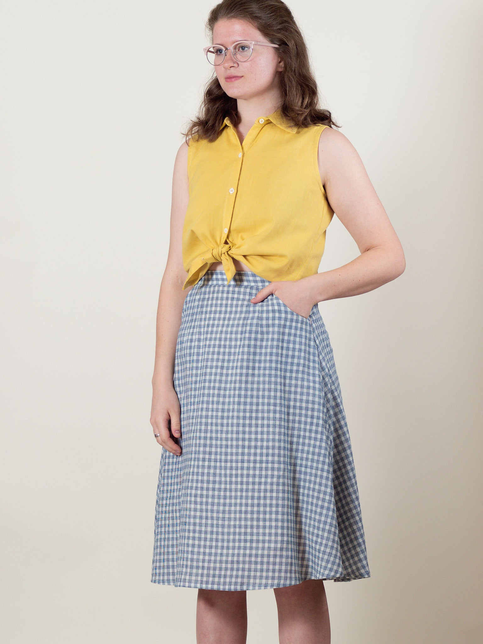 Soleil Skirt in Navy Check