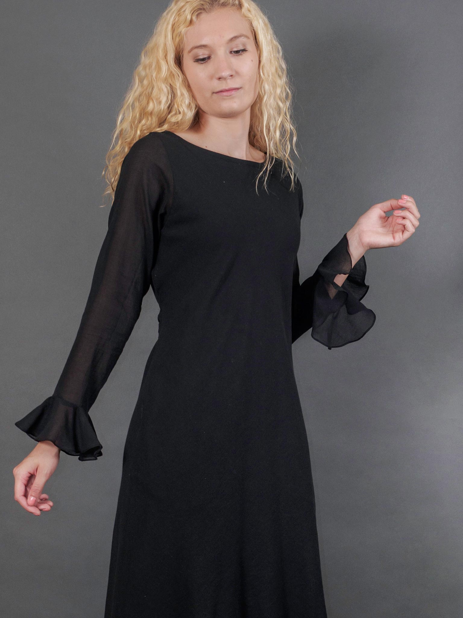 Stella Dress in Noir Chiffon