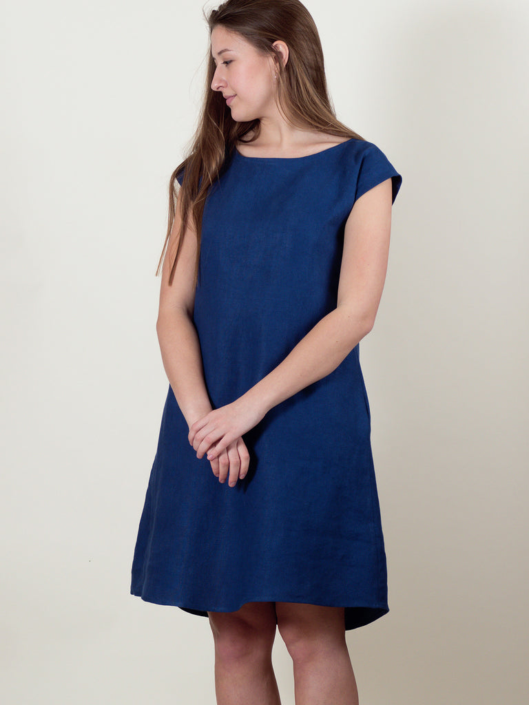 Thea Dress in Blueberry Linen
