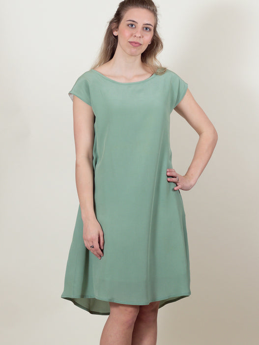 Thea Dress in Sage Silk
