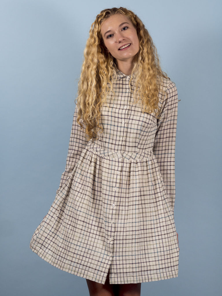 Tuesday Dress in Ivory Plaid