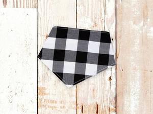 """Black & White Check"" Dog Bandana"