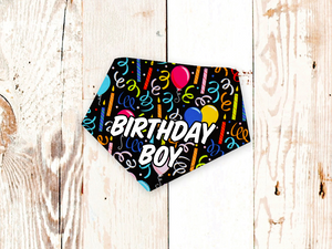 """Birthday Party on Black with Text"" Dog Bandana"