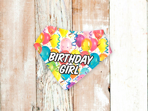 """Birthday Party on White with Text"" Dog Bandana"