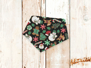 """Christmas Cookies on Black"" Dog Bandana"