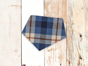 """Blue Rust Tartan Plaid Flannel"" Dog Bandana"