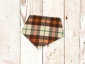 """Brown Plaid Flannel"" Dog Bandana"