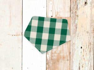 """Green & Offwhite Check"" Dog Bandana"