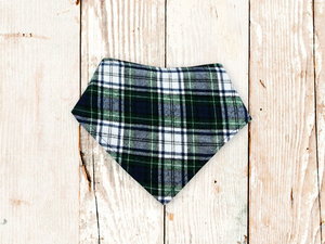 """Green Plaid Flannel"" Dog Bandana"