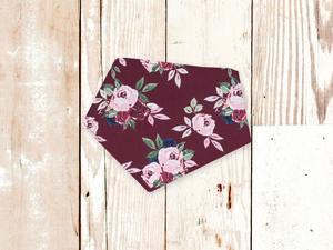 """Maroon Rose"" Dog Bandana"