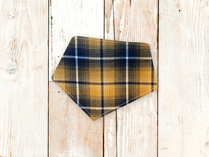 """Mustard Tartan Plaid Flannel"" Dog Bandana"