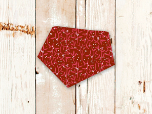 """Red Winter Floral"" Dog Bandana"