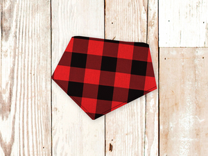 """Big Red Check"" Dog Bandana"