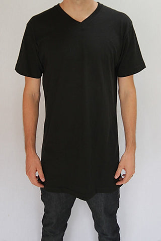 Black Tall V-Neck Tee Wholesale 5 pack