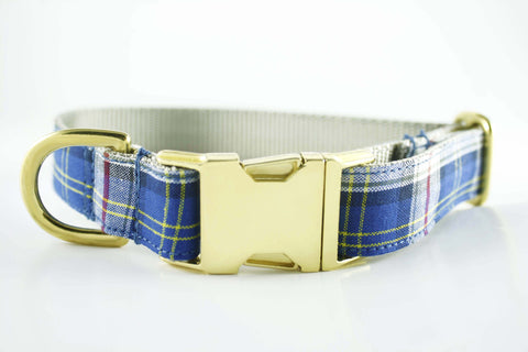 Royal Blue Plaid Collar