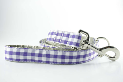 Royal Purple Gingham Leash