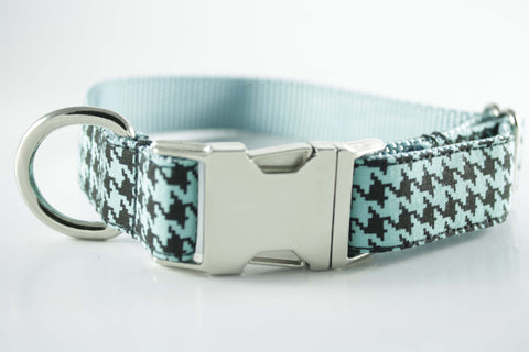 Robin Egg Blue Houndstooth Collar