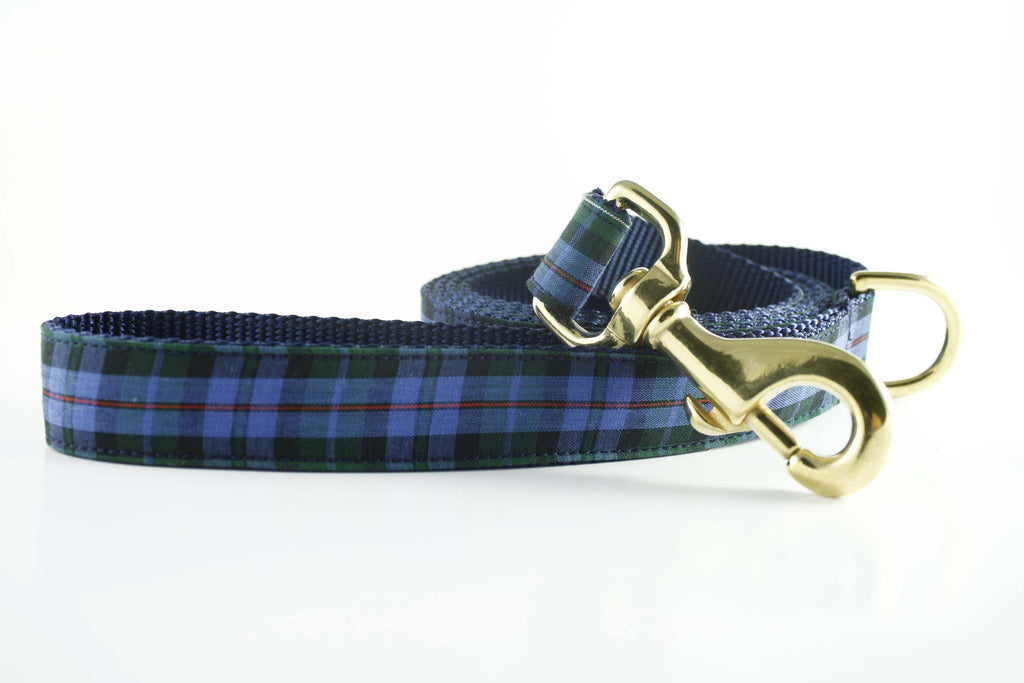 Classic Navy and Green Plaid Leash