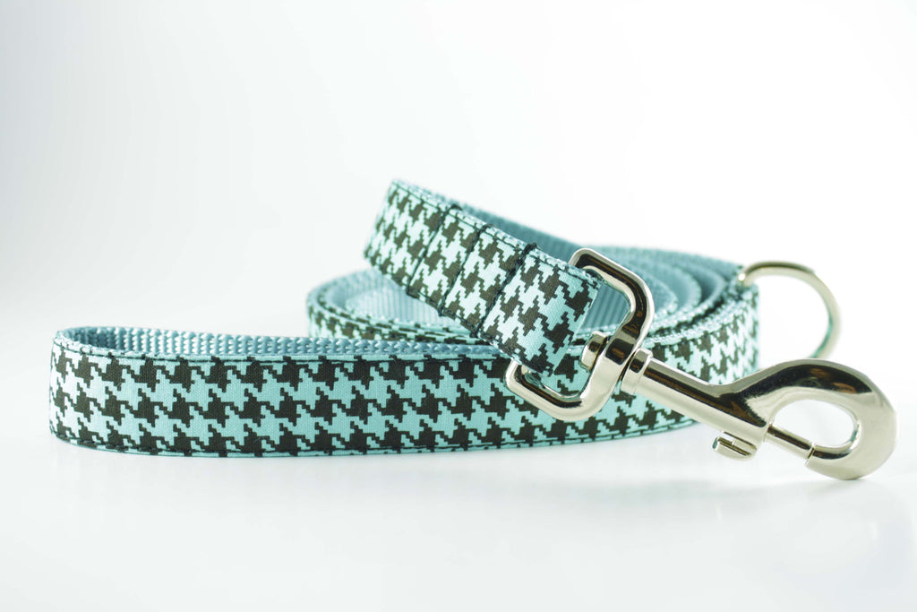 Robin Egg Blue Houndstooth Leash