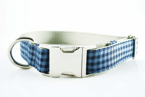 Indigo Blue Gingham Collar