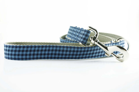 Indigo Blue Gingham Leash