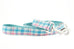 Aqua Blue and Pink Plaid Leash