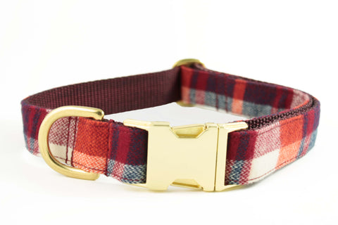 Cherry Red Plaid Collar