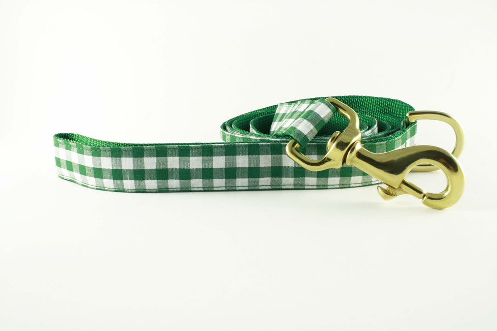 Green Gingham Leash