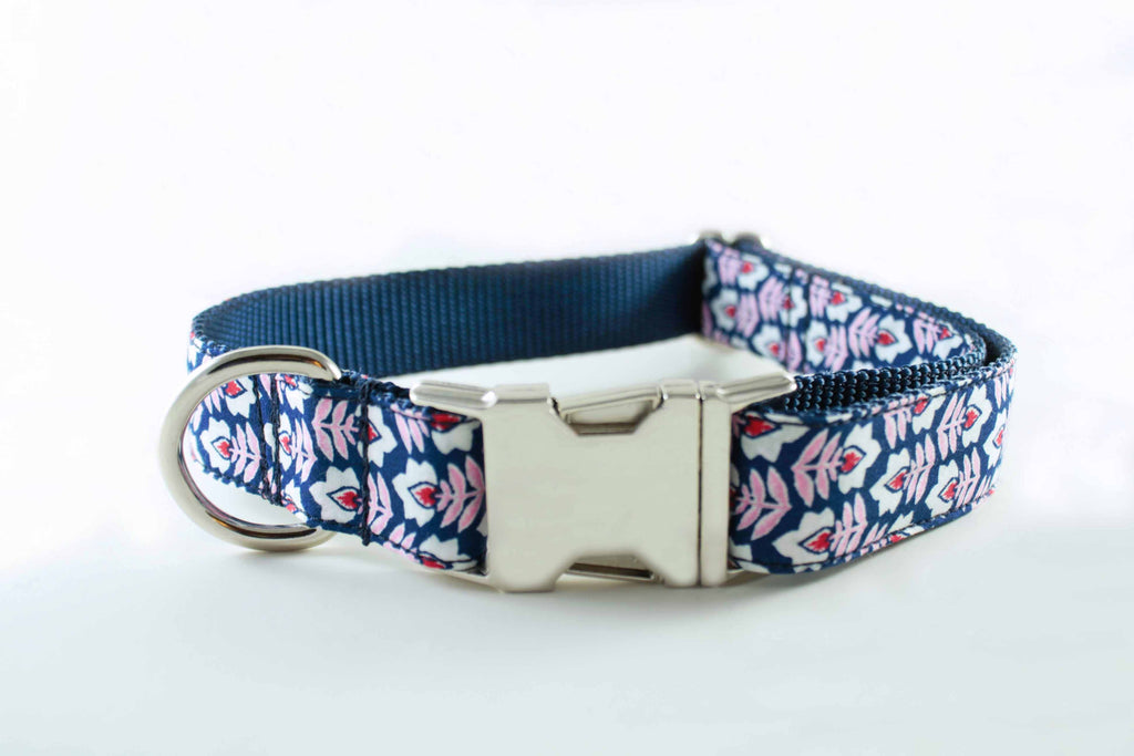 Navy and Pink Flowers Collar