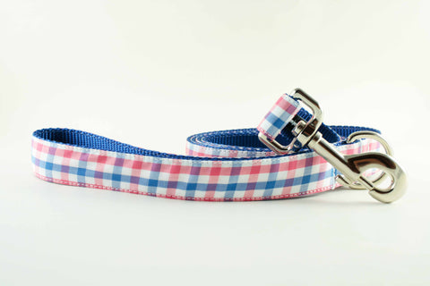 Red White and Blue Gingham Leash