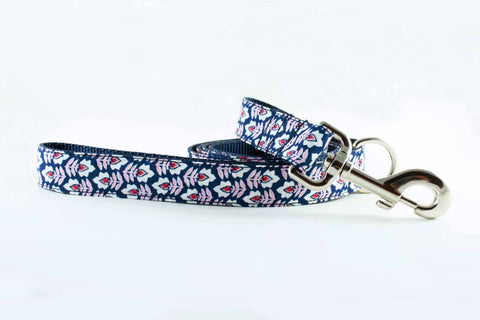 Navy and Pink Flowers Leash