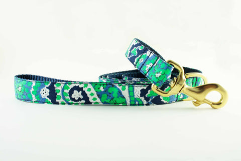Navy and Green Paisley Leash