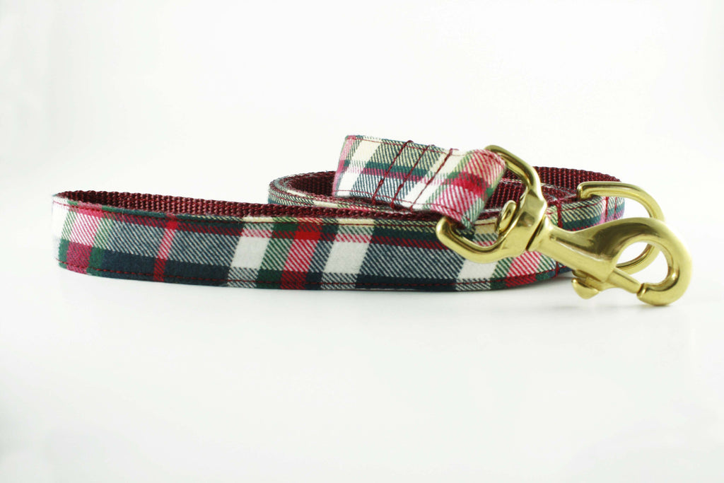 Cranberry Plaid Leash