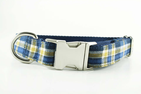 Blue and Gold Plaid Collar