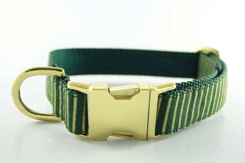 Hunter Green and Gold Stripe Collar - FINAL SALE