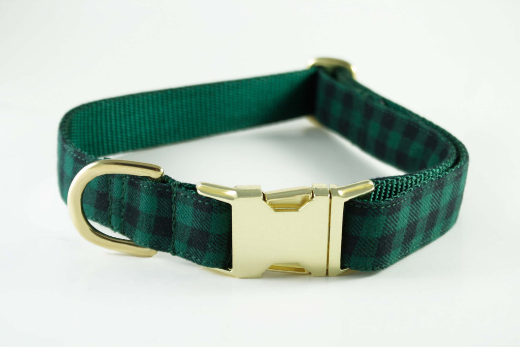 Hunter Green Plaid Collar