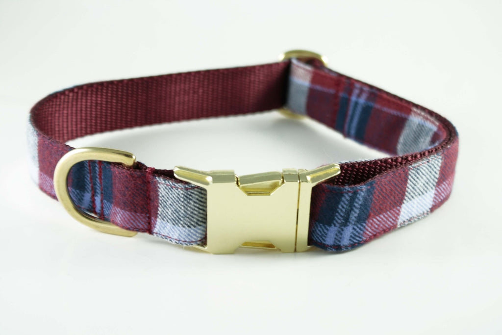 Burgundy Red Plaid Collar
