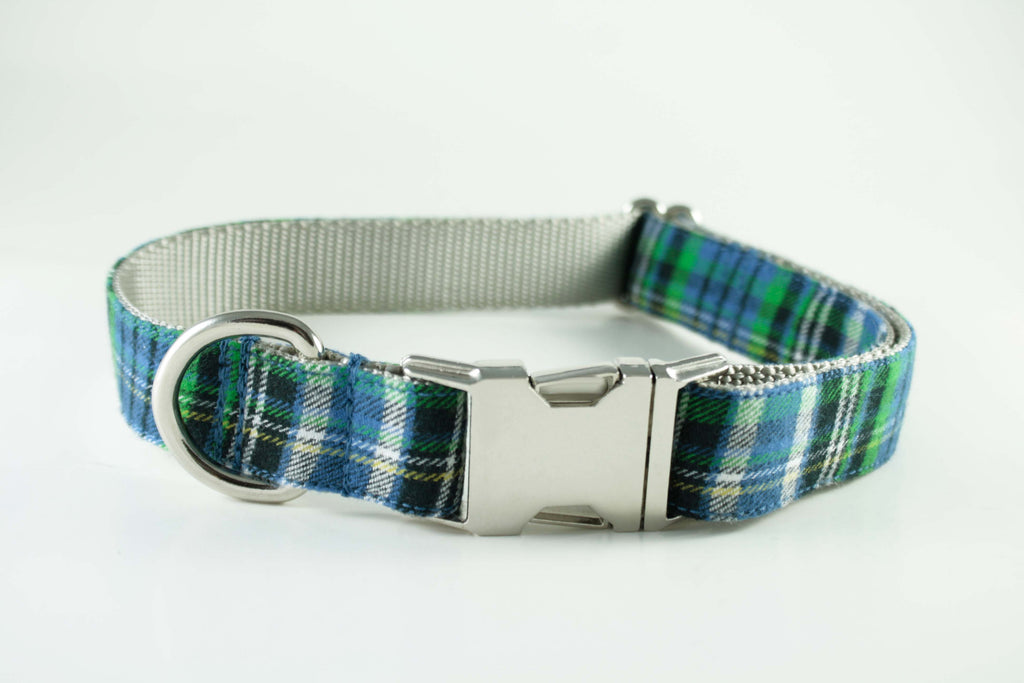 Blue and Green Plaid Collar