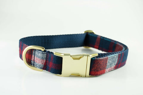 Red and Navy Plaid Collar