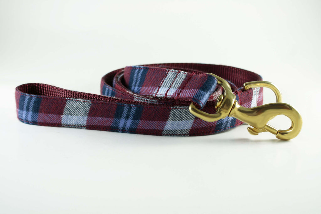 Burgundy Red Plaid Leash