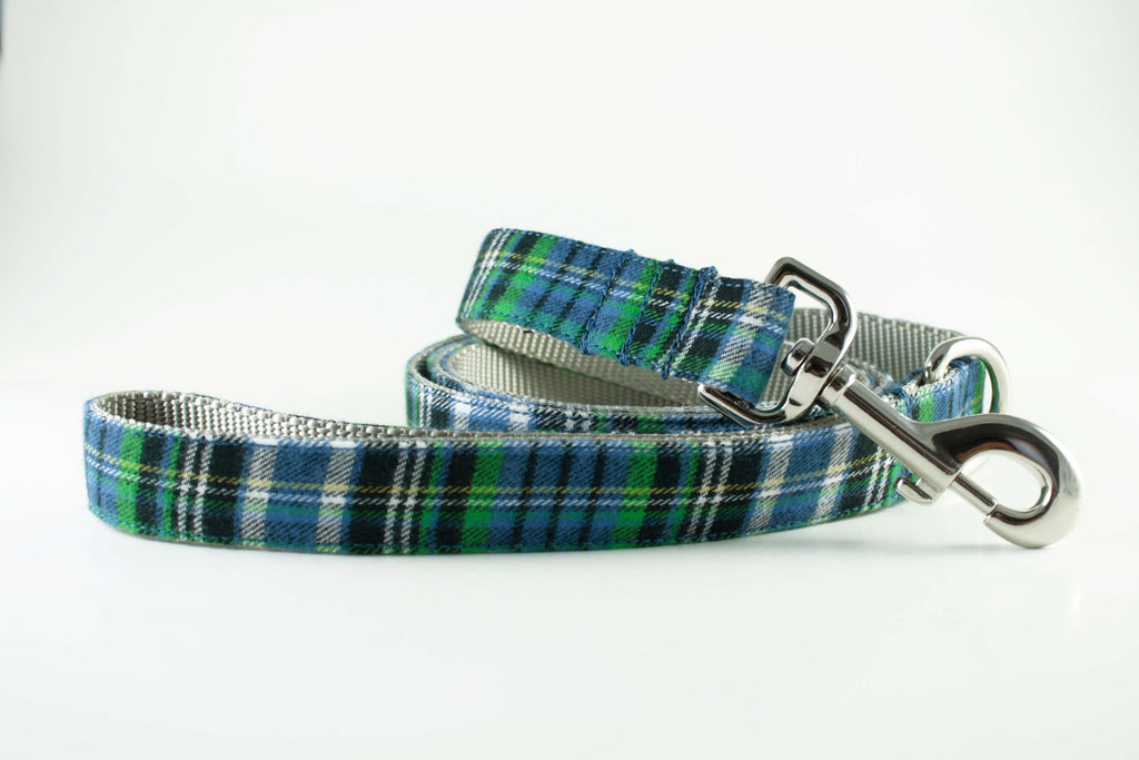 Blue and Green Plaid Leash