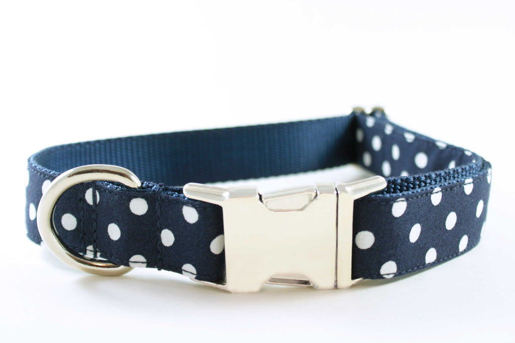 Navy Polka Dot Collar