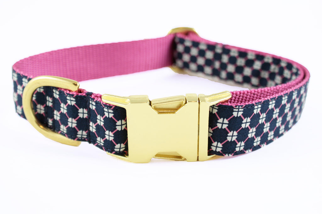 Navy and Pink Honeycomb Collar