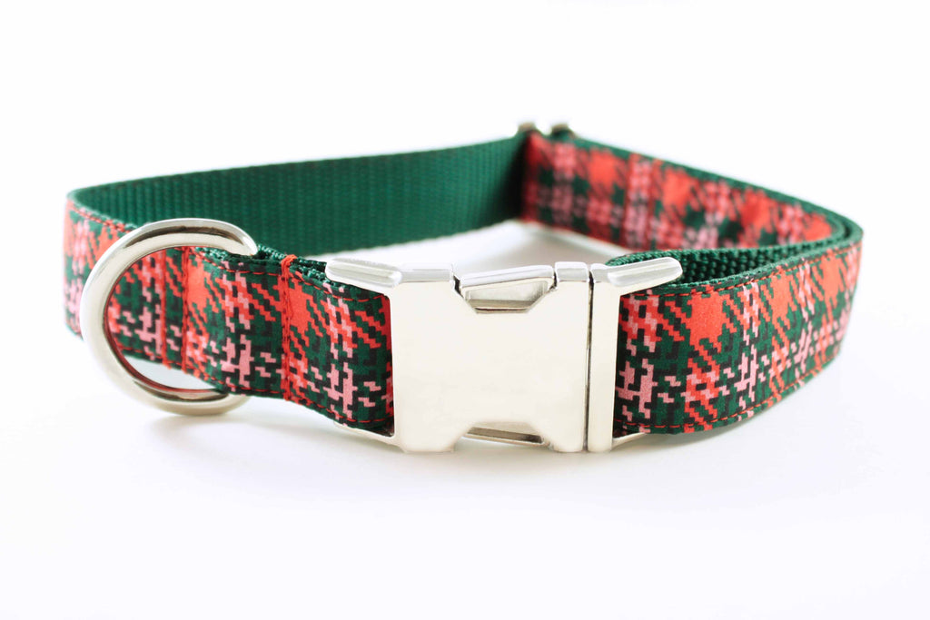 Orange and Green Houndstooth Collar