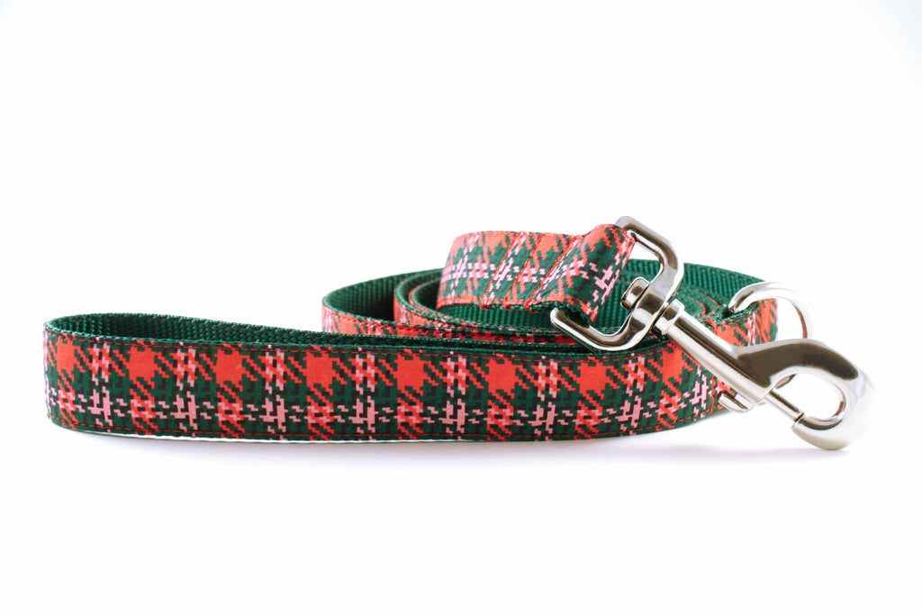 Orange and Green Houndstooth Leash