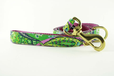 Pink and Green Paisley Leash