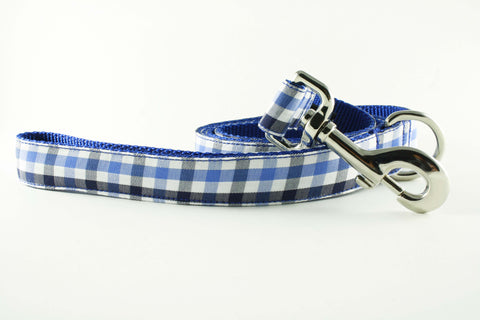 Royal Blue and Navy Gingham Leash