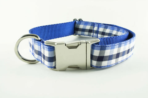 Royal Blue and Navy Gingham Collar